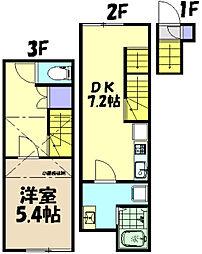 JR中央線 武蔵小金井駅 徒歩8分の賃貸テラスハウス 2階1SDKの間取り
