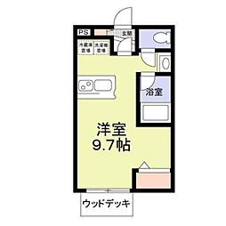 東武東上線 鶴ヶ島駅 徒歩6分の賃貸アパート 1階ワンルームの間取り