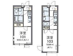 JR中央線 日野駅 徒歩11分の賃貸マンション 1階1Kの間取り