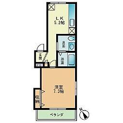 へーベルメゾンムーンリーフ 2階1DKの間取り