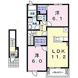 シャトーカルムI 2階2LDKの間取り