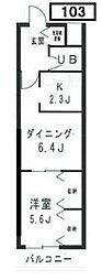TOTETSU URAWA 1階1LDKの間取り
