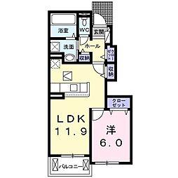 秩父鉄道 行田市駅 徒歩22分の賃貸アパート 1階1LDKの間取り