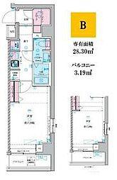 JR総武線 荻窪駅 徒歩14分の賃貸マンション 4階1Kの間取り