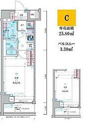 JR総武線 荻窪駅 徒歩14分の賃貸マンション 6階1Kの間取り