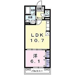 サニー・ヒルズ 2階1LDKの間取り