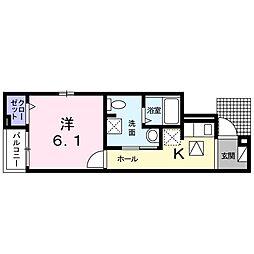 東急東横線 祐天寺駅 徒歩7分の賃貸アパート 1階1Kの間取り