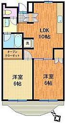 JR南武線 矢野口駅 徒歩5分の賃貸マンション 3階2LDKの間取り
