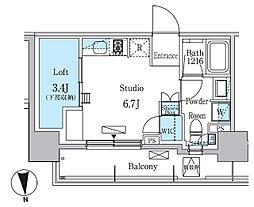 東急東横線 学芸大学駅 徒歩11分の賃貸マンション 5階ワンルームの間取り