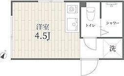 京王井の頭線 神泉駅 徒歩2分の賃貸マンション 2階ワンルームの間取り