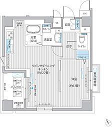 東急多摩川線 下丸子駅 徒歩4分の賃貸マンション 4階1LDKの間取り