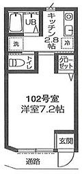 小田急小田原線 喜多見駅 徒歩18分の賃貸アパート 1階1Kの間取り