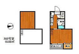福岡市地下鉄七隈線 別府駅 徒歩7分の賃貸アパート 2階1Kの間取り