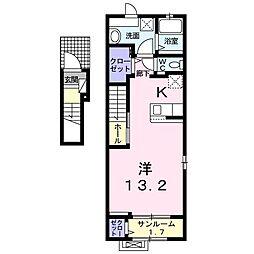 関東鉄道常総線 西取手駅 徒歩14分の賃貸アパート 2階1Kの間取り