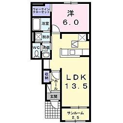 東武桐生線 藪塚駅 徒歩20分の賃貸アパート 1階1LDKの間取り