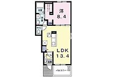 東武小泉線 篠塚駅 5.3kmの賃貸アパート 1階1LDKの間取り