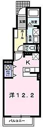 東武小泉線 成島駅 徒歩12分の賃貸アパート 1階1Kの間取り