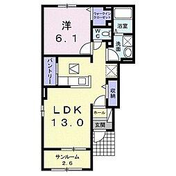 東武桐生線 藪塚駅 徒歩28分の賃貸アパート 1階1LDKの間取り