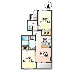JR総武本線 八街駅 バス5分 大木入口下車 徒歩6分の賃貸アパート 1階2LDKの間取り