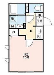 東京メトロ日比谷線 三ノ輪駅 徒歩7分の賃貸マンション 4階1Kの間取り