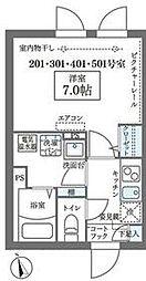JR山手線 日暮里駅 徒歩8分の賃貸マンション 4階1Kの間取り