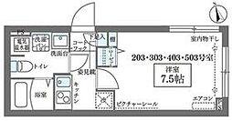 JR山手線 日暮里駅 徒歩8分の賃貸マンション 5階1Kの間取り