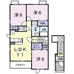 JR横須賀線 東戸塚駅 バス8分 芹が谷団地前下車 徒歩5分の賃貸アパート 2階3LDKの間取り