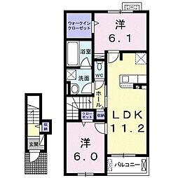 小田急江ノ島線 湘南台駅 バス19分 榎戸下車 徒歩2分の賃貸アパート 2階2LDKの間取り