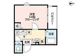 西武新宿線 野方駅 徒歩6分の賃貸アパート 1階1Kの間取り