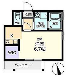 PREGIO Horikiri 2階1Kの間取り