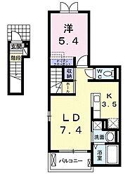 JR高崎線 岡部駅 徒歩3分の賃貸アパート 2階1LDKの間取り