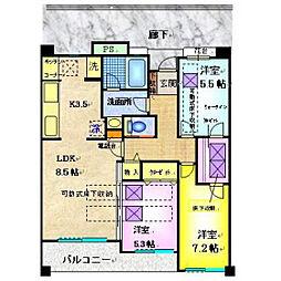 小田急小田原線 町田駅 バス13分 忠生高校前下車 徒歩4分の賃貸マンション 1階3LDKの間取り