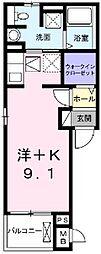 近鉄名古屋線 近鉄四日市駅 徒歩11分の賃貸アパート 1階1Kの間取り