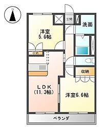 横浜市営地下鉄ブルーライン 上永谷駅 徒歩12分の賃貸アパート 2階2LDKの間取り