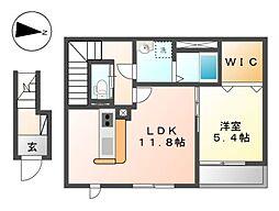 JR京浜東北・根岸線 本郷台駅 徒歩22分の賃貸アパート 2階1LDKの間取り