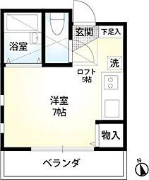 横浜市営地下鉄ブルーライン 上永谷駅 徒歩11分の賃貸アパート 2階ワンルームの間取り