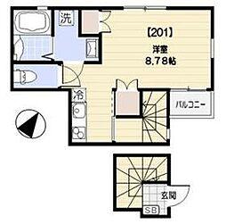 ル シエル渋谷初台 2階ワンルームの間取り