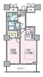 東京メトロ日比谷線 南千住駅 徒歩5分の賃貸マンション 12階1LDKの間取り