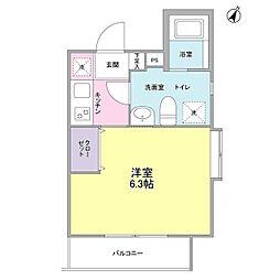 東急目黒線 西小山駅 徒歩7分の賃貸マンション 3階1Kの間取り