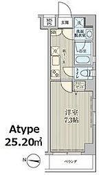 東急池上線 石川台駅 徒歩1分の賃貸マンション 4階1Kの間取り
