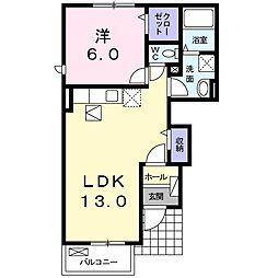 JR成田線 下総橘駅 7kmの賃貸アパート 1階1LDKの間取り