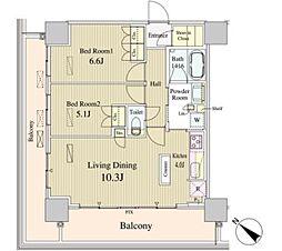 ルミレイス豊洲 16階2LDKの間取り