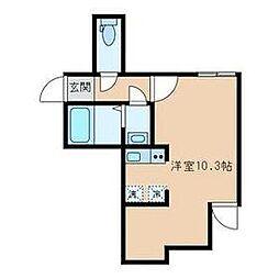 東京メトロ南北線 東大前駅 徒歩6分の賃貸アパート 1階ワンルームの間取り