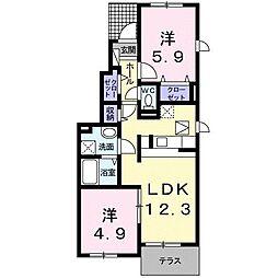 小田急小田原線 鶴川駅 徒歩18分の賃貸アパート 1階2LDKの間取り
