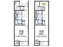 JR南武線 矢川駅 徒歩8分の賃貸アパート 1階1Kの間取り
