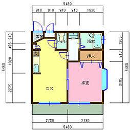 東武日光線 幸手駅 徒歩10分の賃貸マンション 2階1DKの間取り