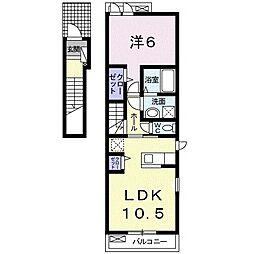 名鉄名古屋本線 伊奈駅 徒歩10分の賃貸アパート 2階1LDKの間取り