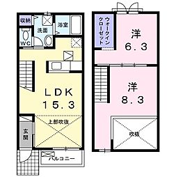 JR東北本線 宇都宮駅 バス20分 JRバス産業プラザ下車 徒歩2分の賃貸アパート 1階2LDKの間取り