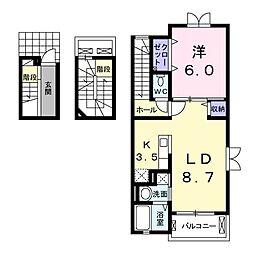 JR東北本線 新白岡駅 徒歩6分の賃貸アパート 3階1LDKの間取り