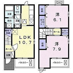 JR両毛線 佐野駅 徒歩31分の賃貸アパート 1階2LDKの間取り
